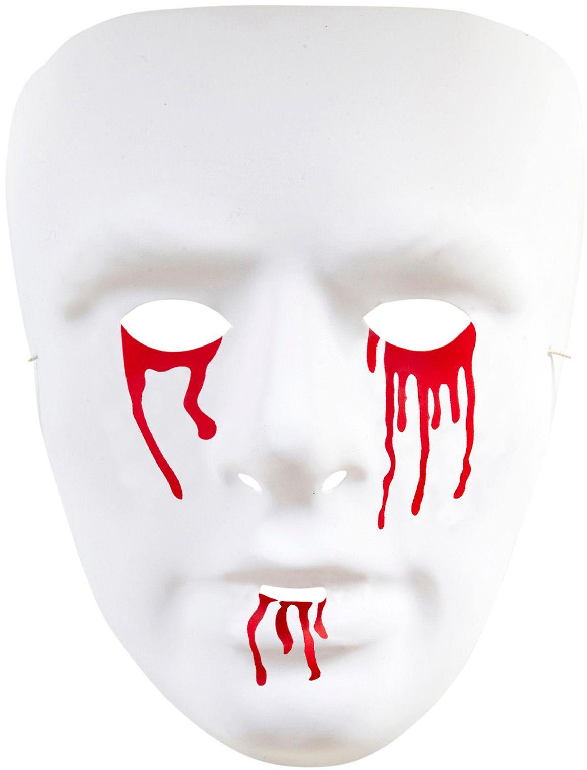 Psychopaten masker met bloedende ogen en mond