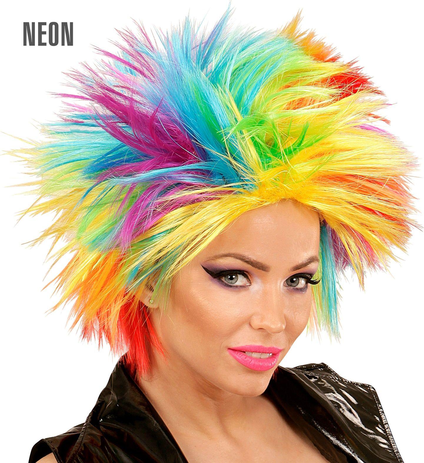 Punk regenboog pruik