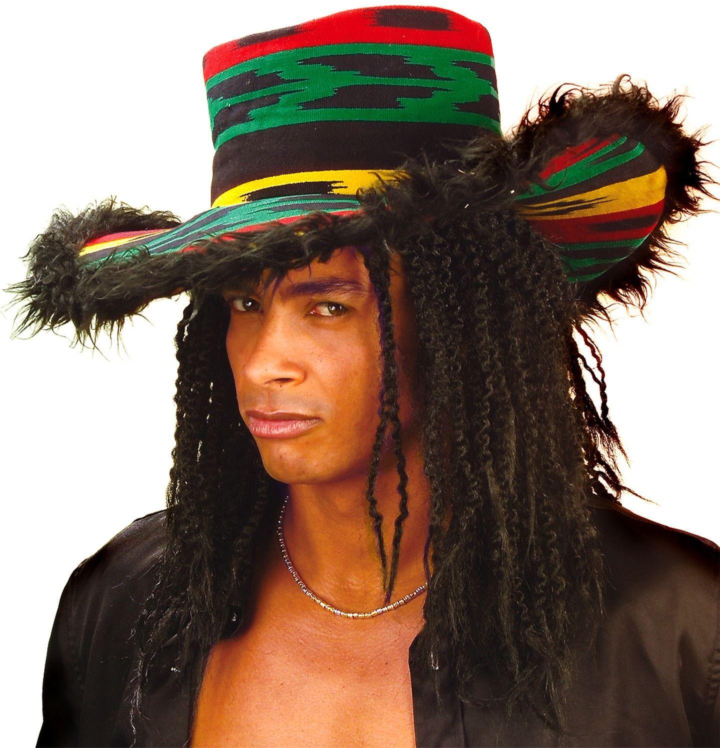 Reggae hoed met pluche rand