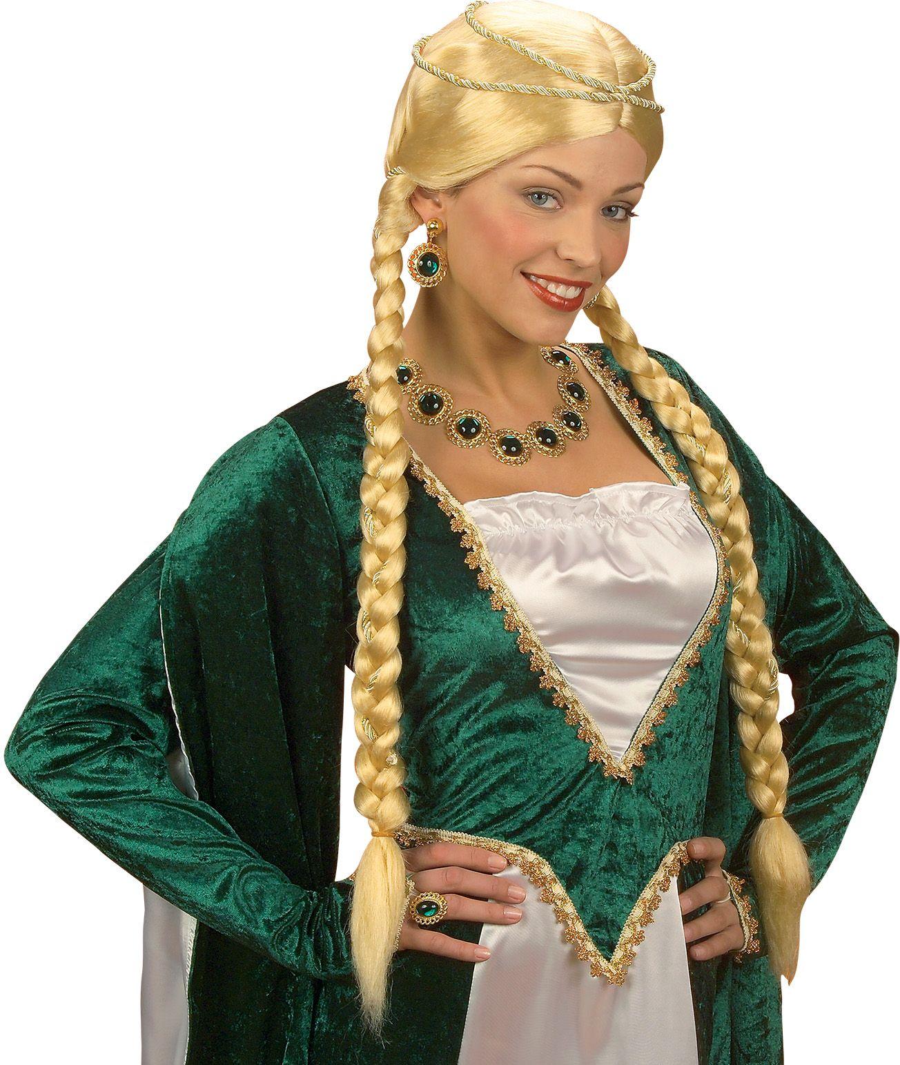 Renaissance koningin pruik blond