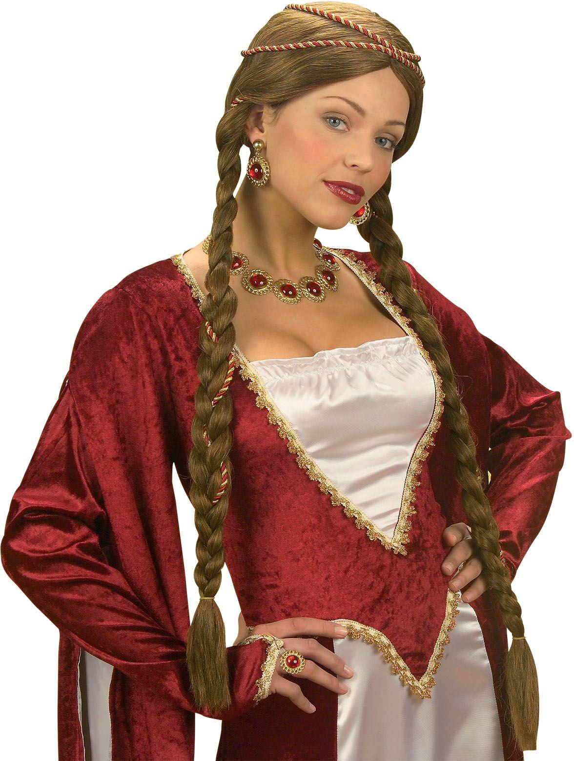 Renaissance koningin pruik bruin
