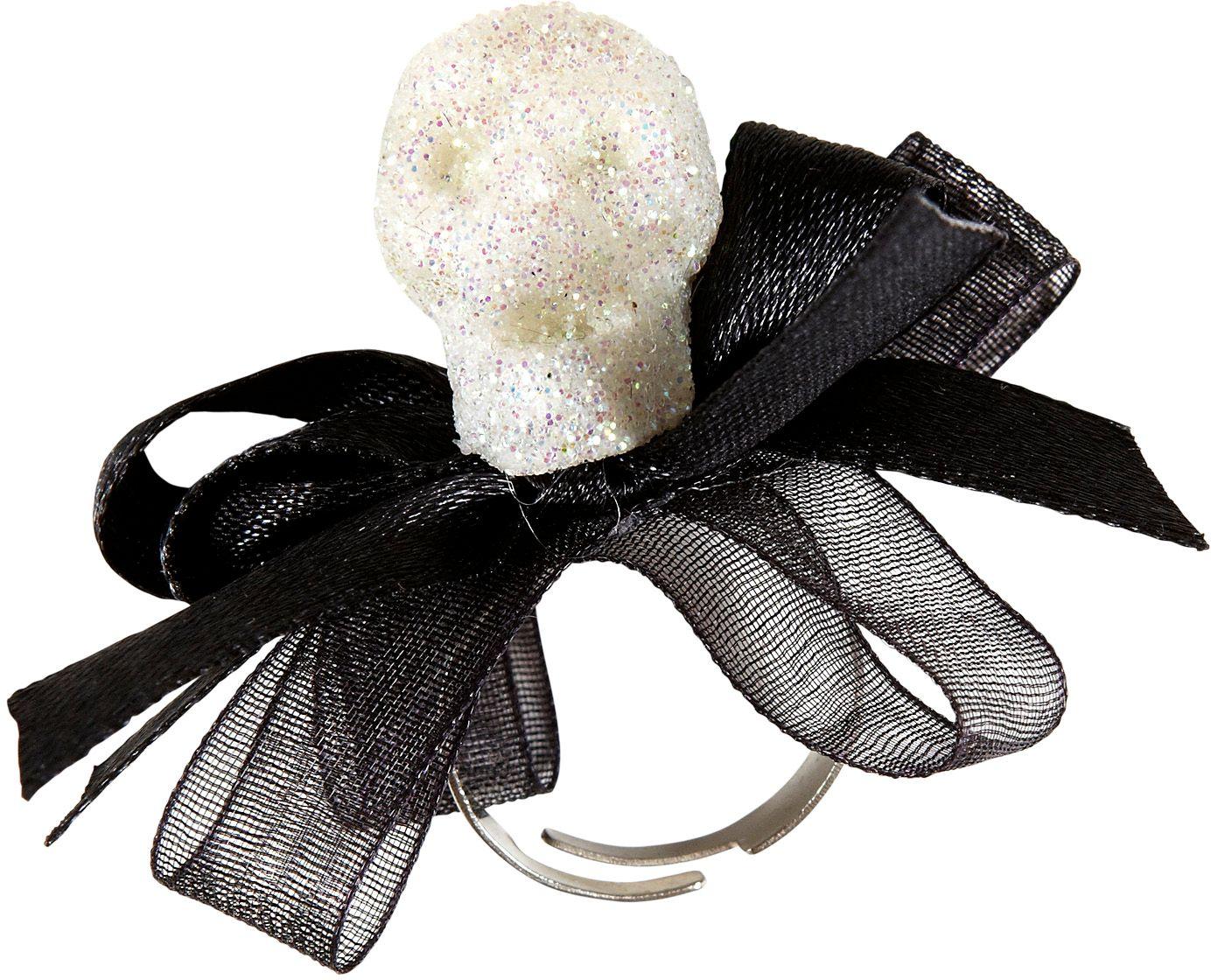 Ring met glitter schedel en strikje