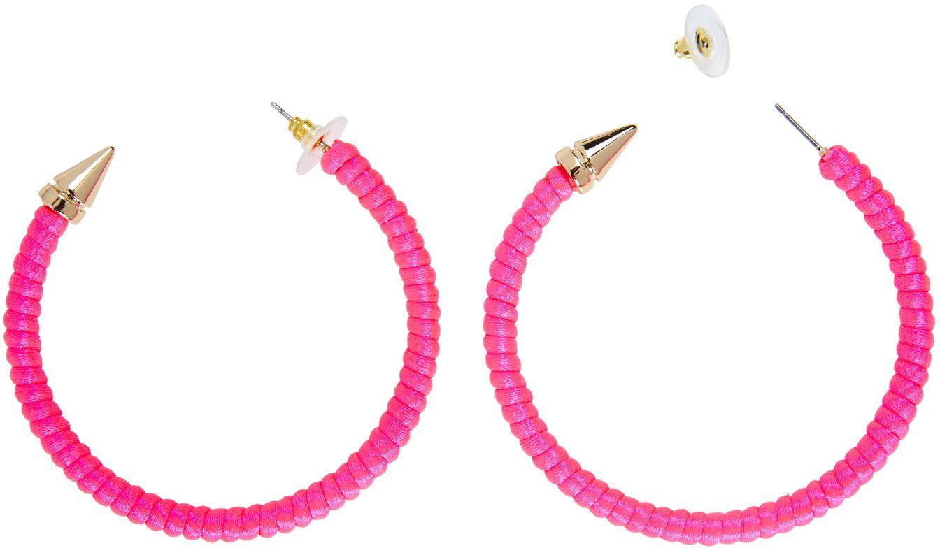 Ring oorbellen neon roze