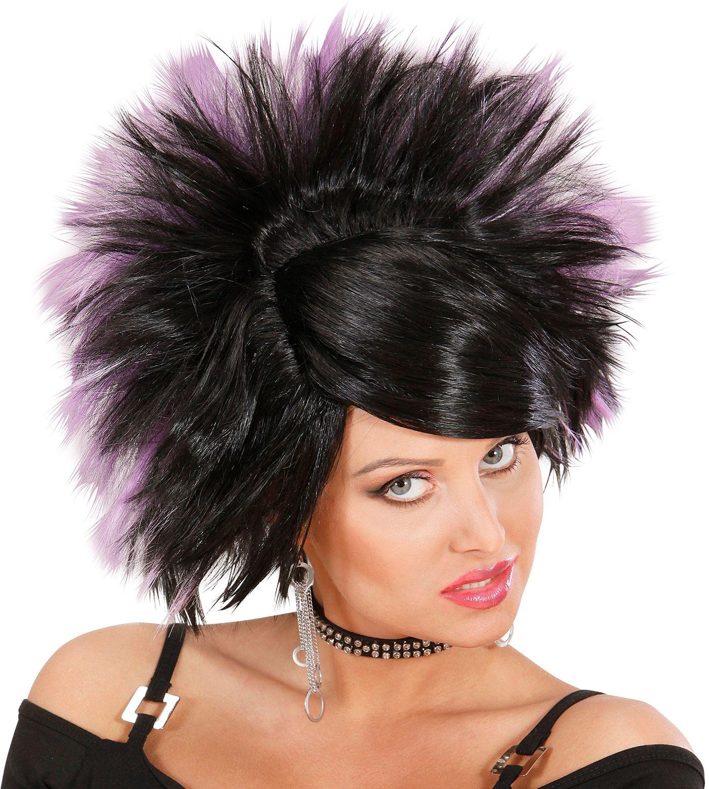Rock pruik zwart paars