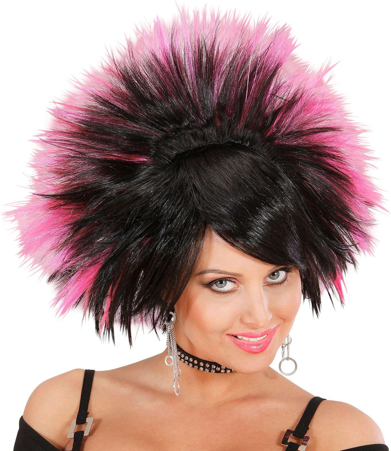 Rock pruik zwart roze
