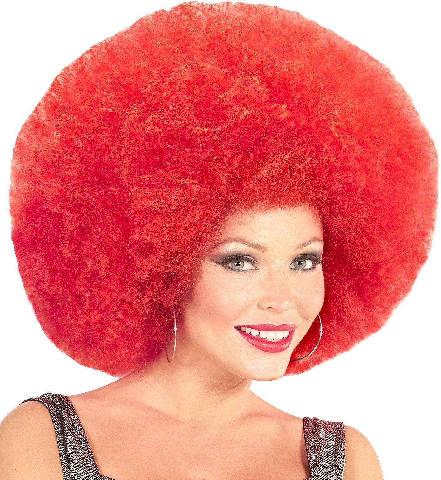 Rode afro pruik extra groot