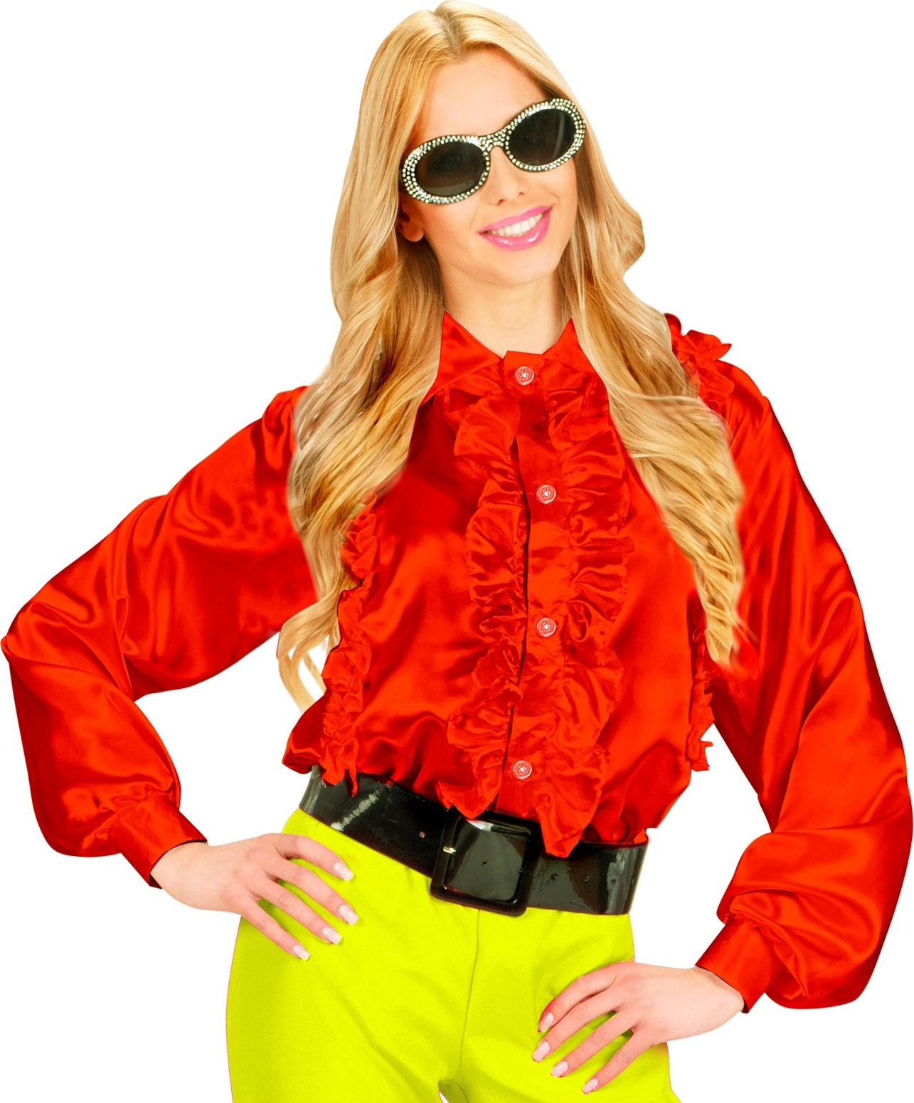 Rode dames disco blouse