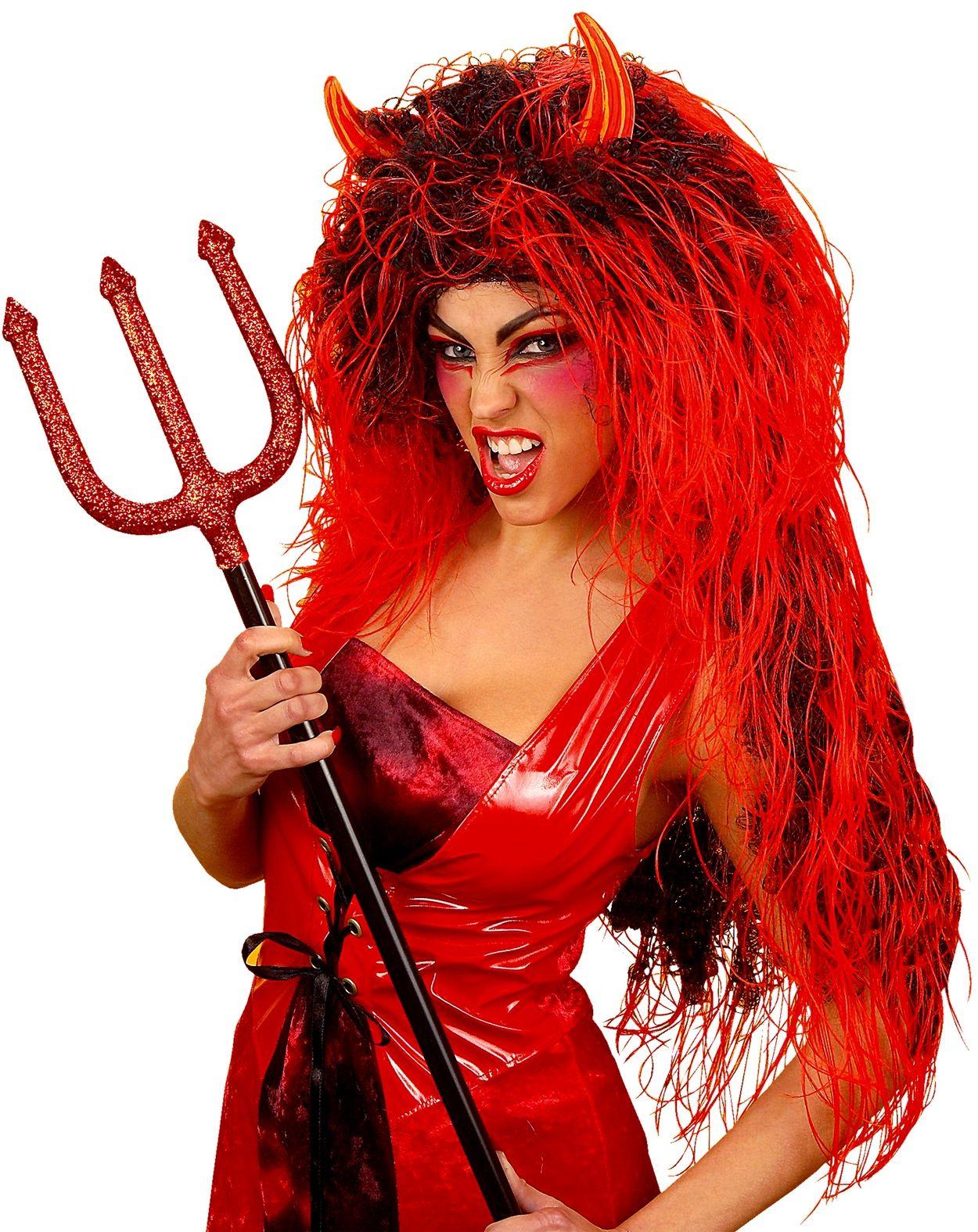 Rode duivel pruik lang haar
