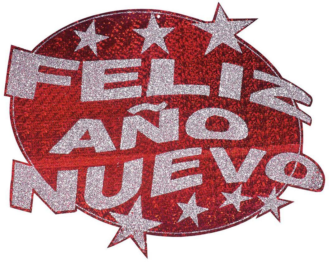 Rode Feliz Año Nuevo glitter versiering