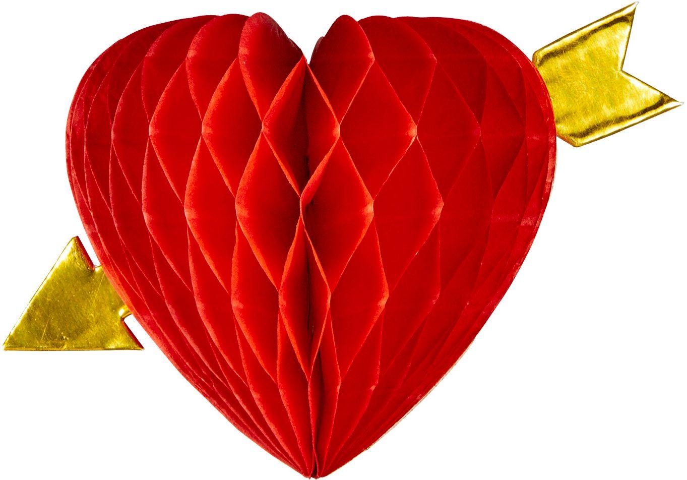 Rode hart met pijl honingraat