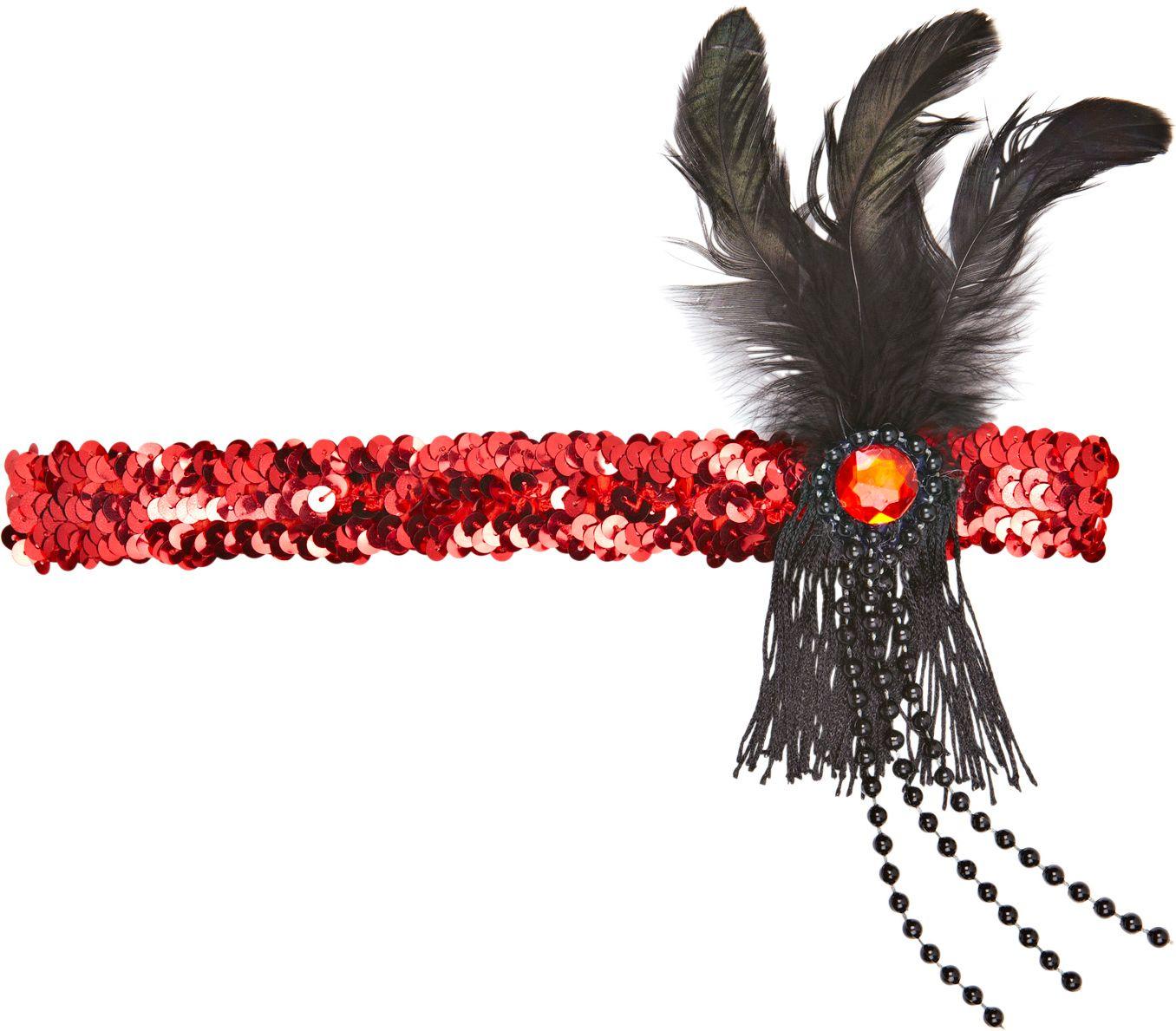 Rode pailletten flapper hoofdband