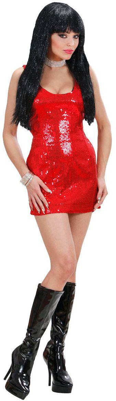 Rode pailletten jurk