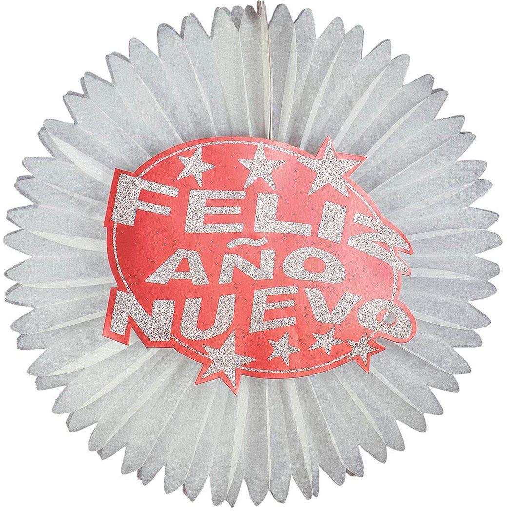 Rode papieren Feliz Año Nuevo glitter waaier