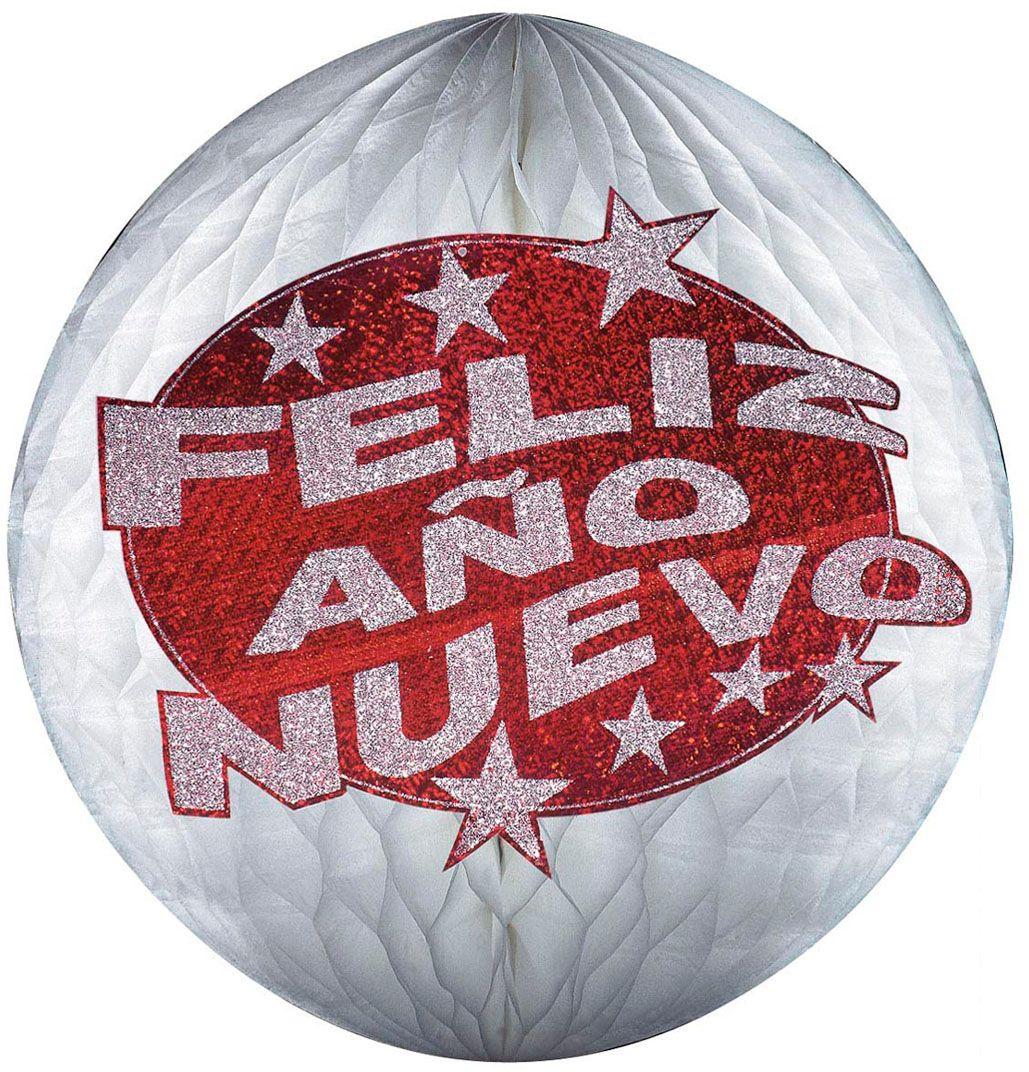 Rode papieren holografische Feliz Año Nuevo bal