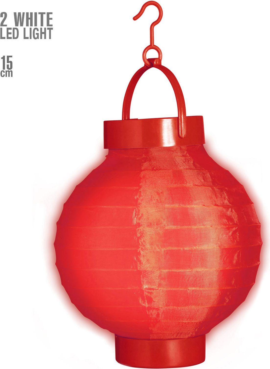 Rode stoffen lampion met 2 witte LED lichten