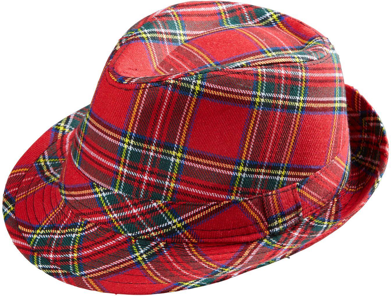 Rode tartan hoed