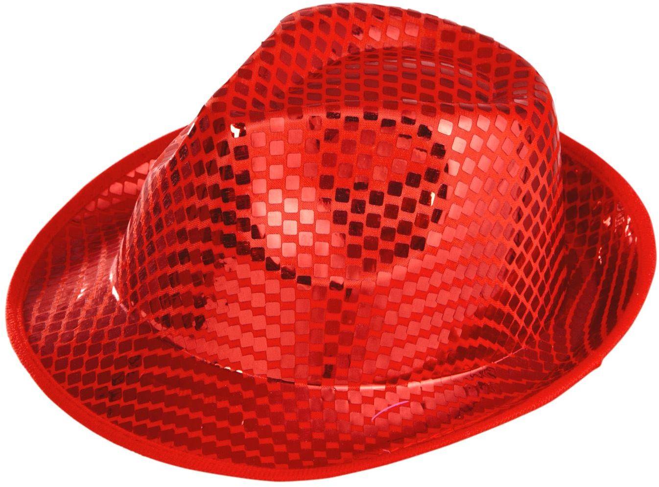 Rode vierkante pailletten hoed