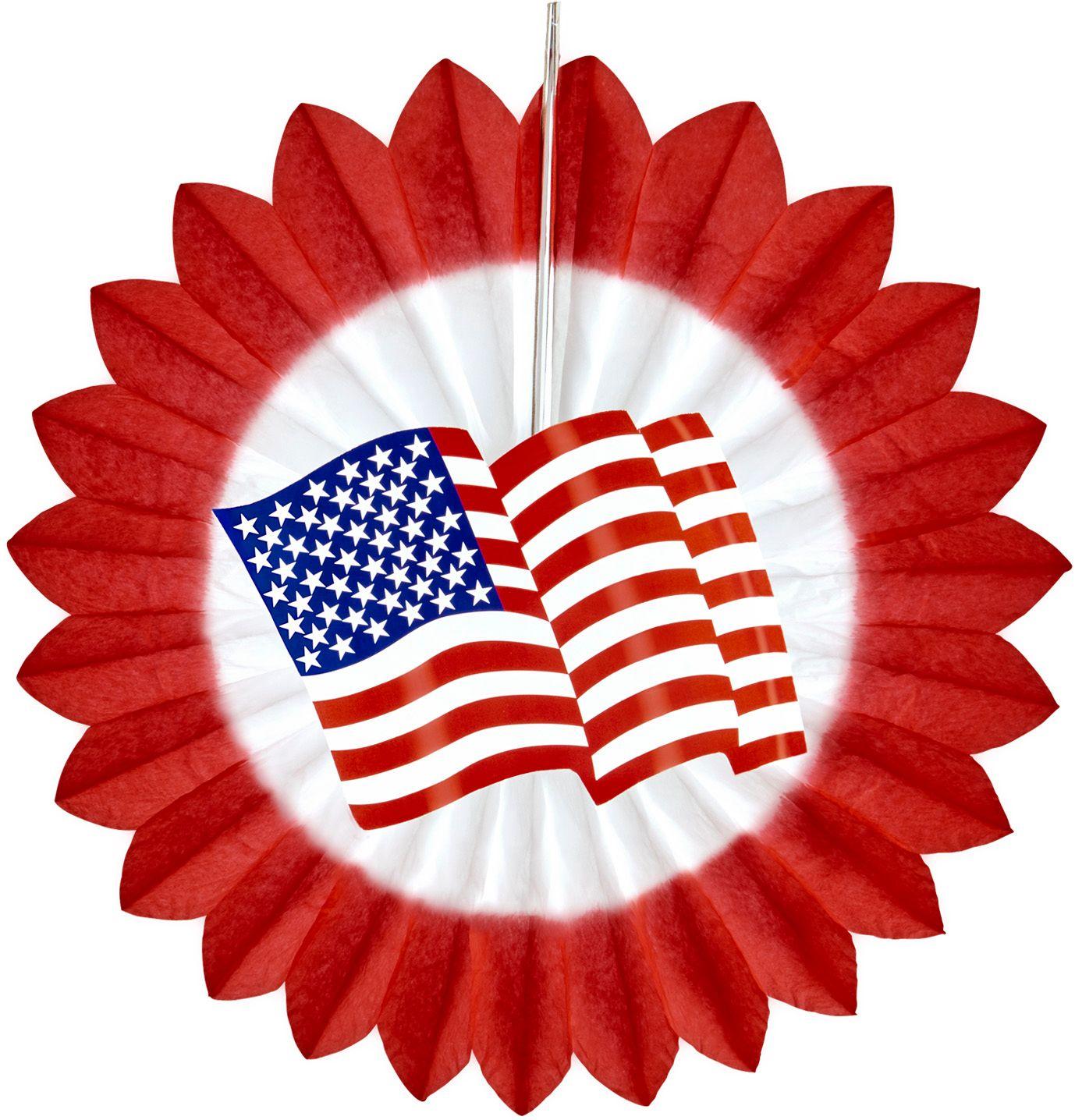 Rode waaier met amerikaanse vlag