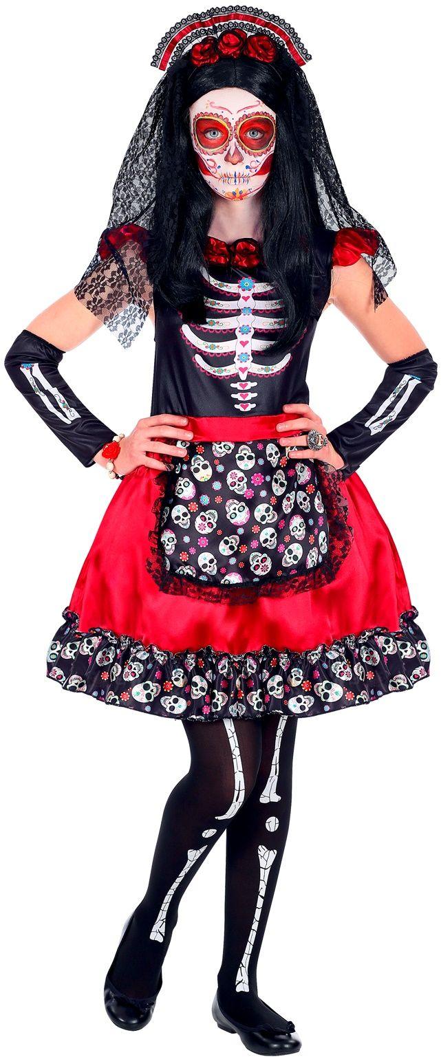Rood dia de los muertos outfit meisje