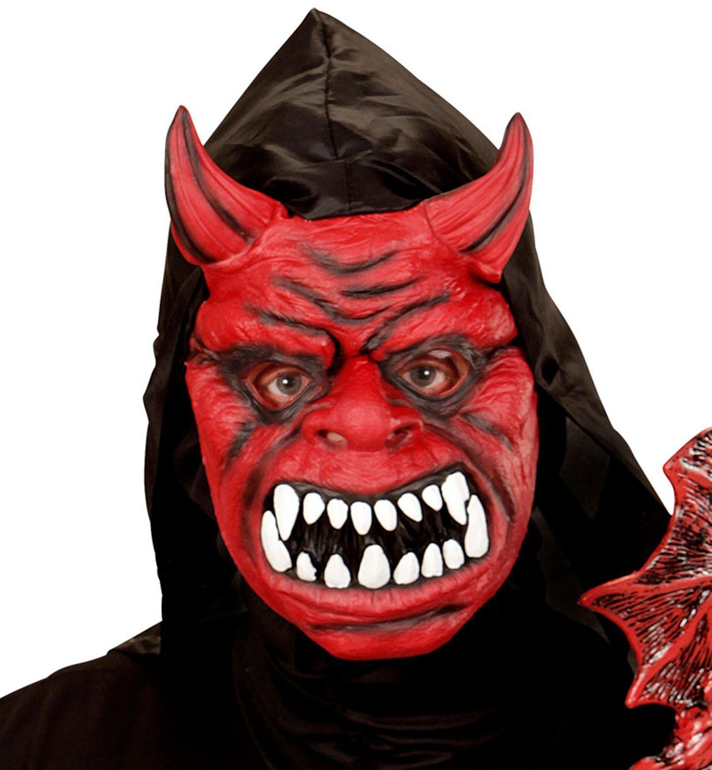 Rood duivelmasker met capuchon