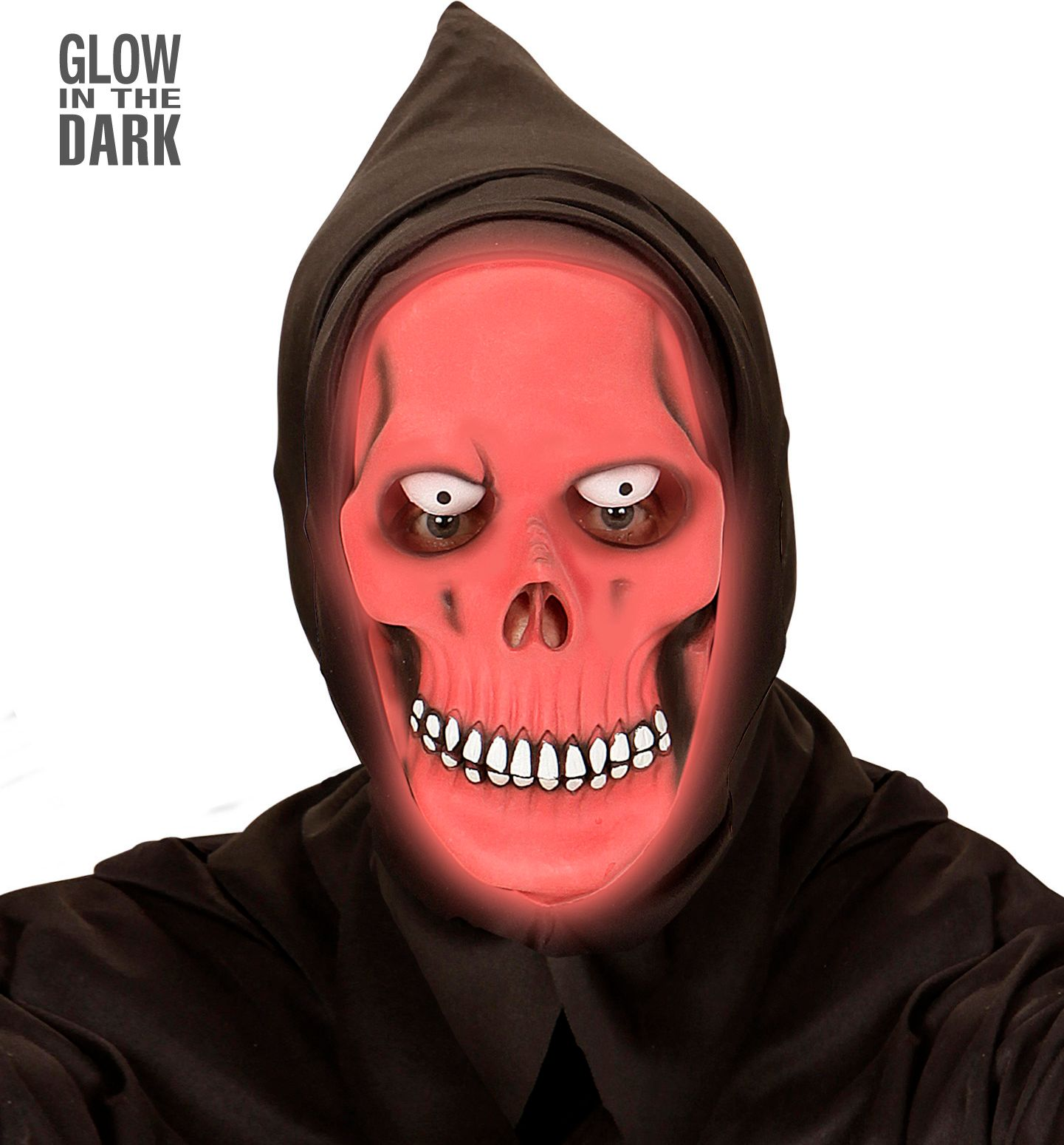Rood glow in the dark grim reaper masker