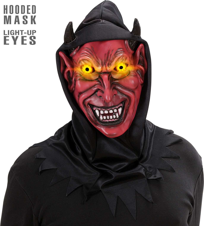 Rood lichtgevend duivel masker met capuchon