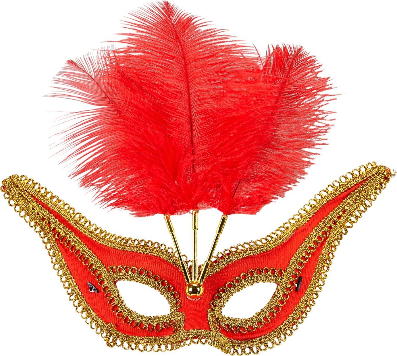 Rood oogmasker met veren en gouden rand