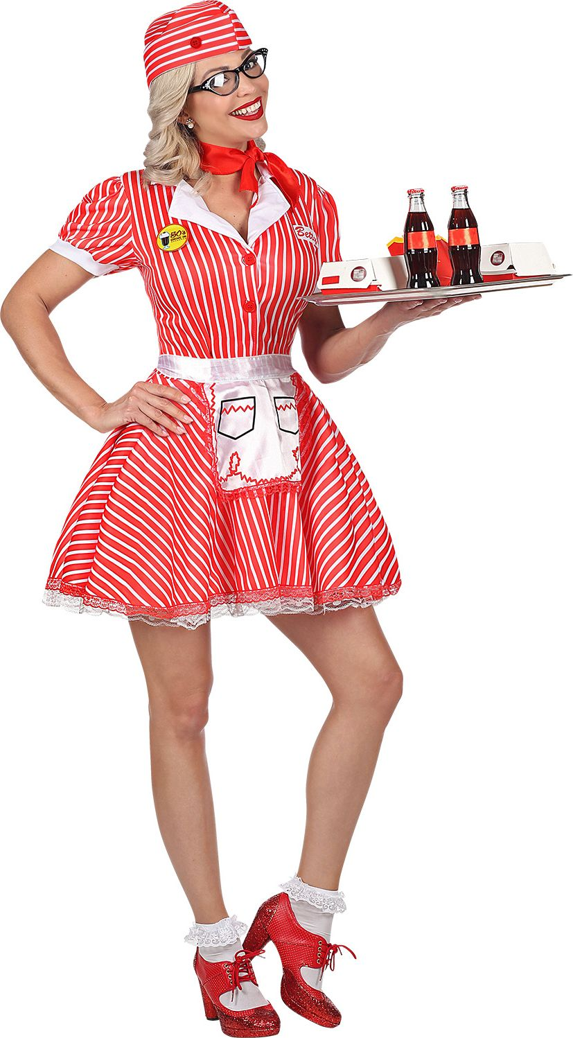Rood serveerster outfit vrouwen