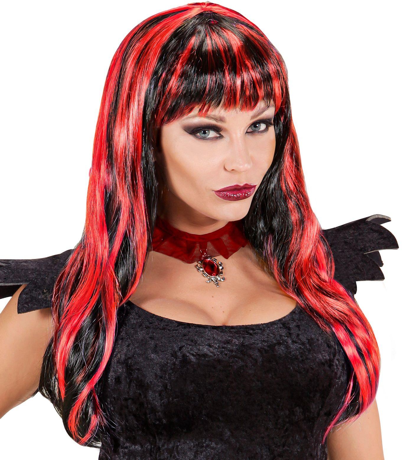 Rood-zwart gestreepte halloween pruik
