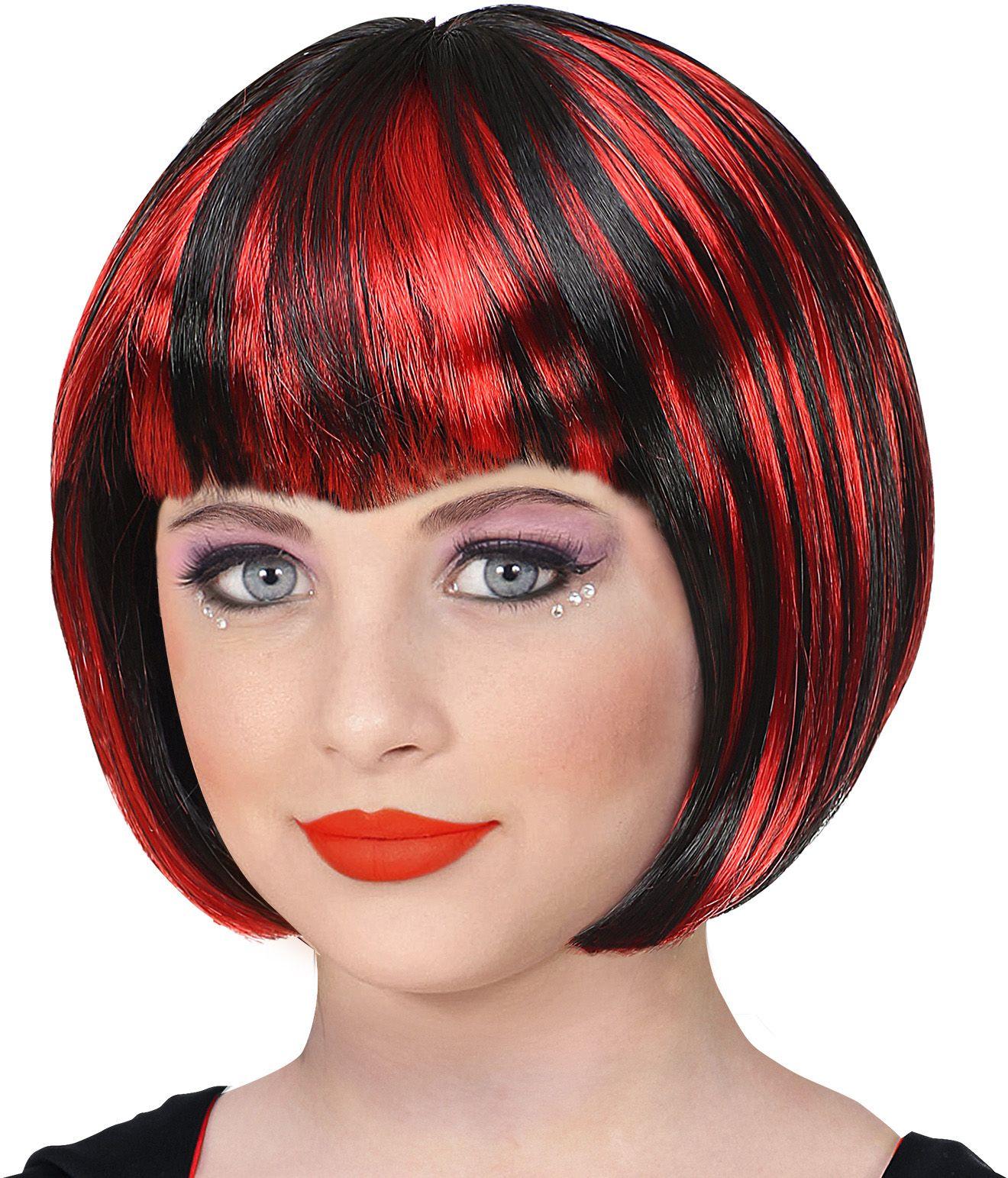 Rood zwarte pruik vrouwen halloween