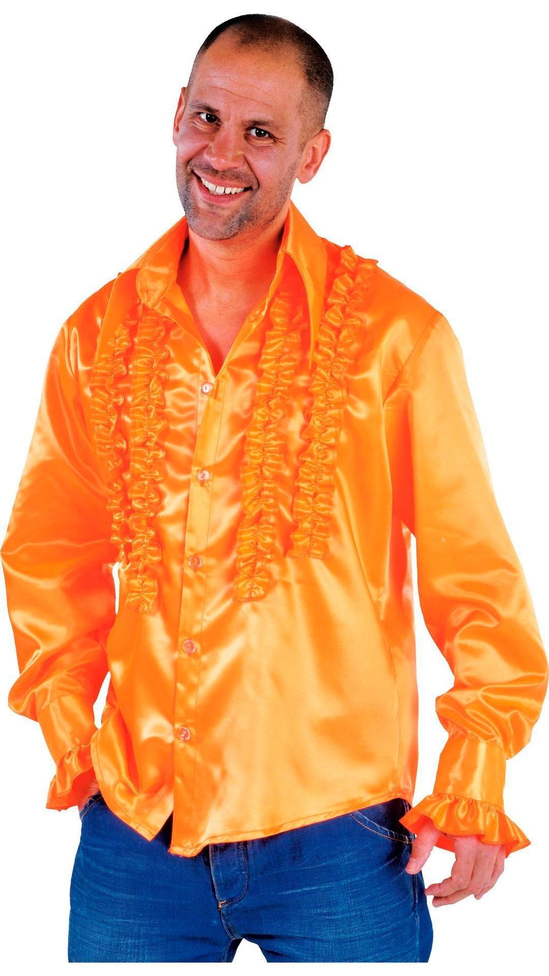 Rouches blouse oranje mannen