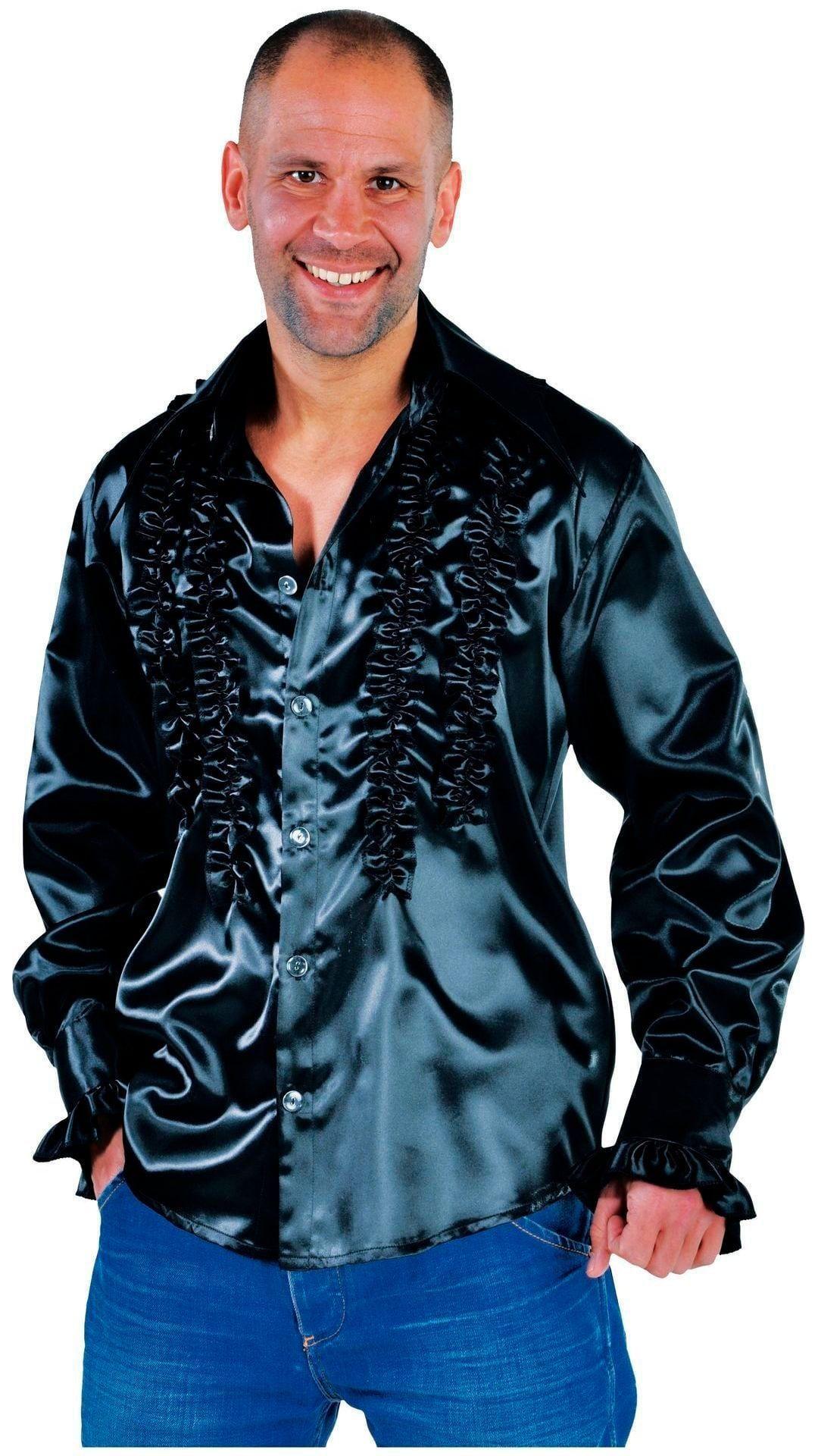Rouches blouse zwart mannen
