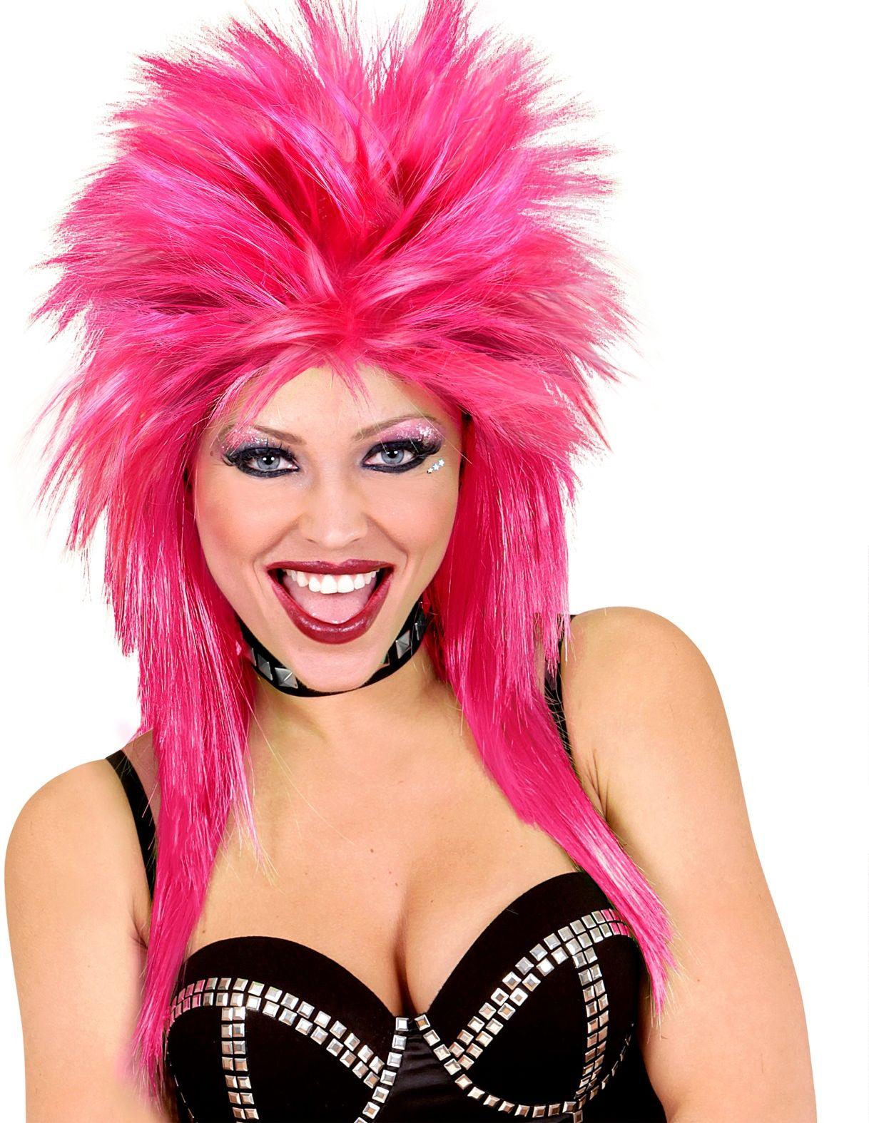 Roze 80s rockster pruik
