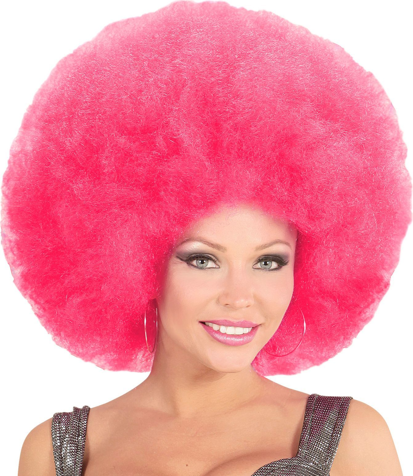 Roze afro pruik extra groot