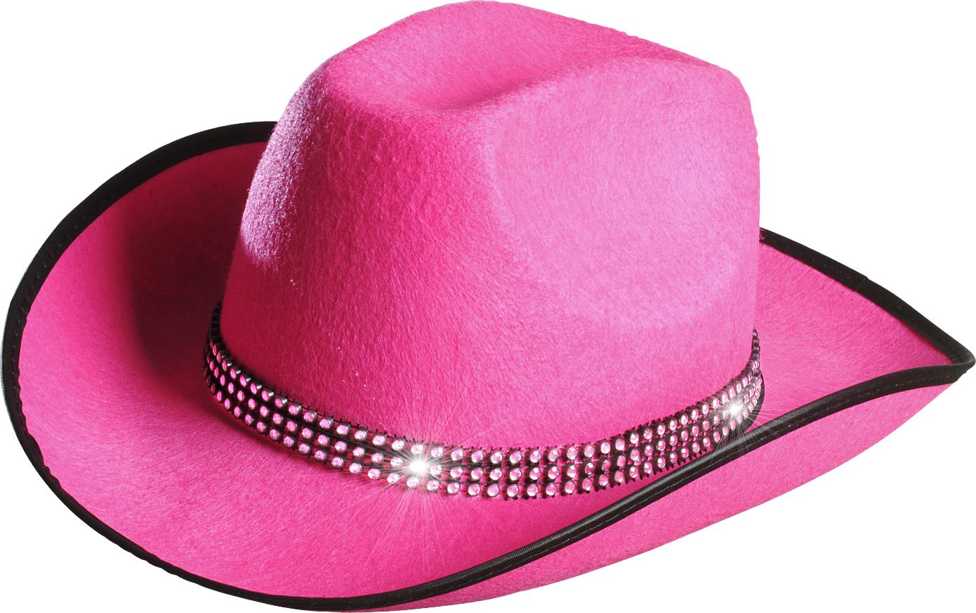 Roze cowgirlhoed met strass band