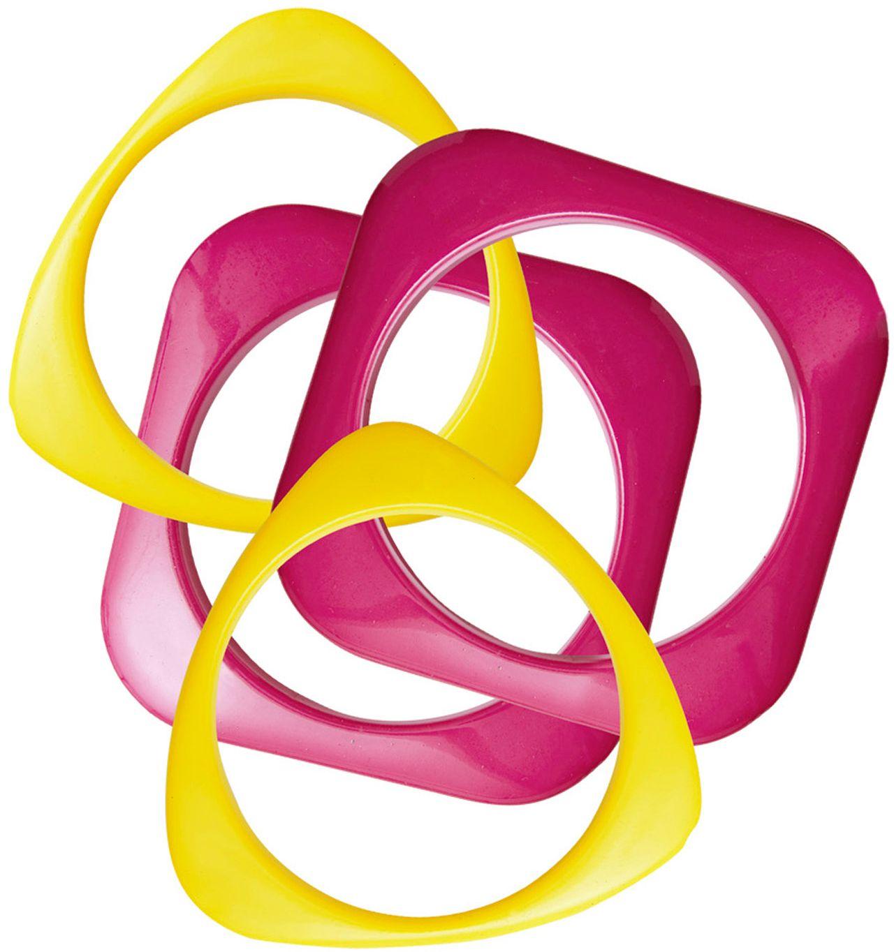 Roze gele disco armbanden 4 stuks