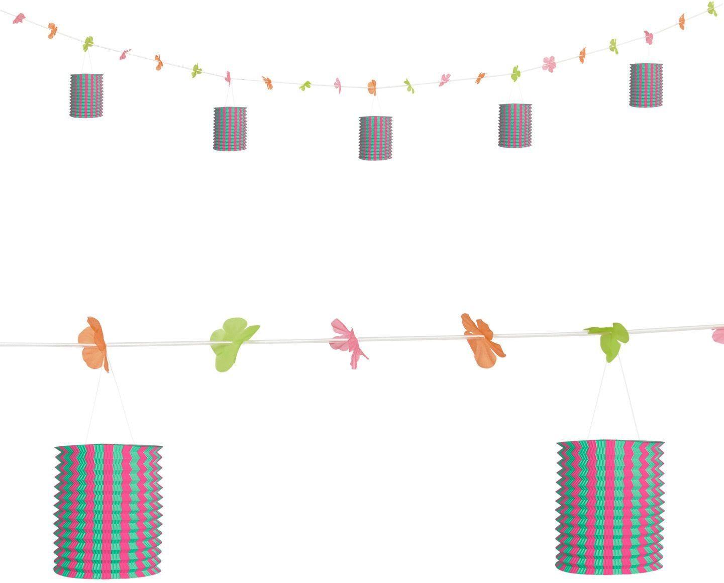 Roze-groene lantaarn feestslinger