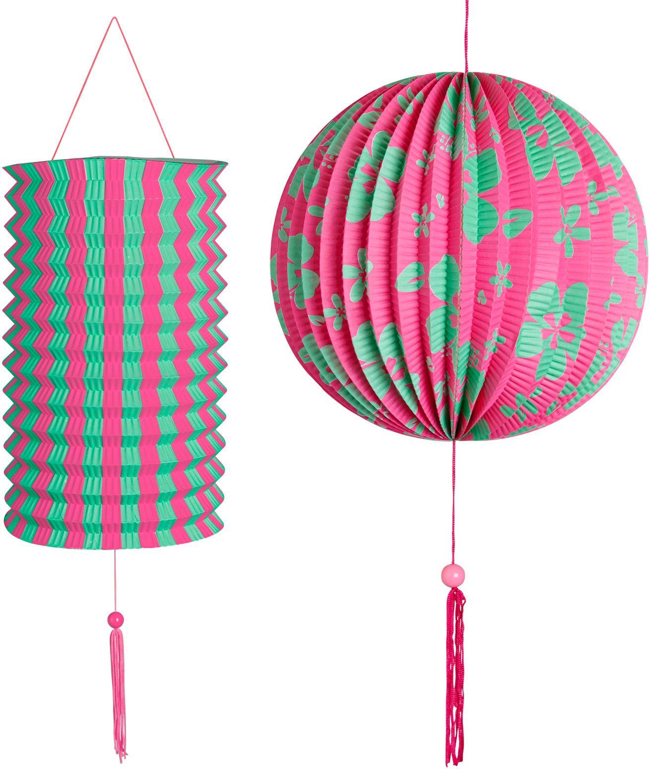 Roze groene papieren bal met lampion