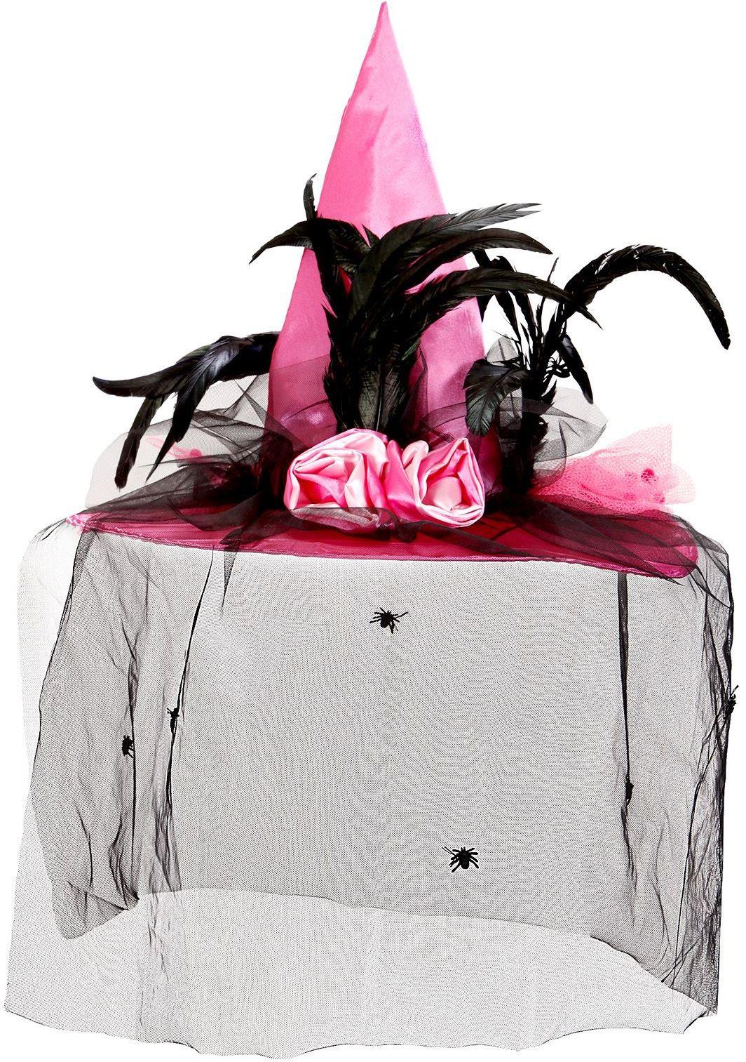 Roze heksenhoed met sluier