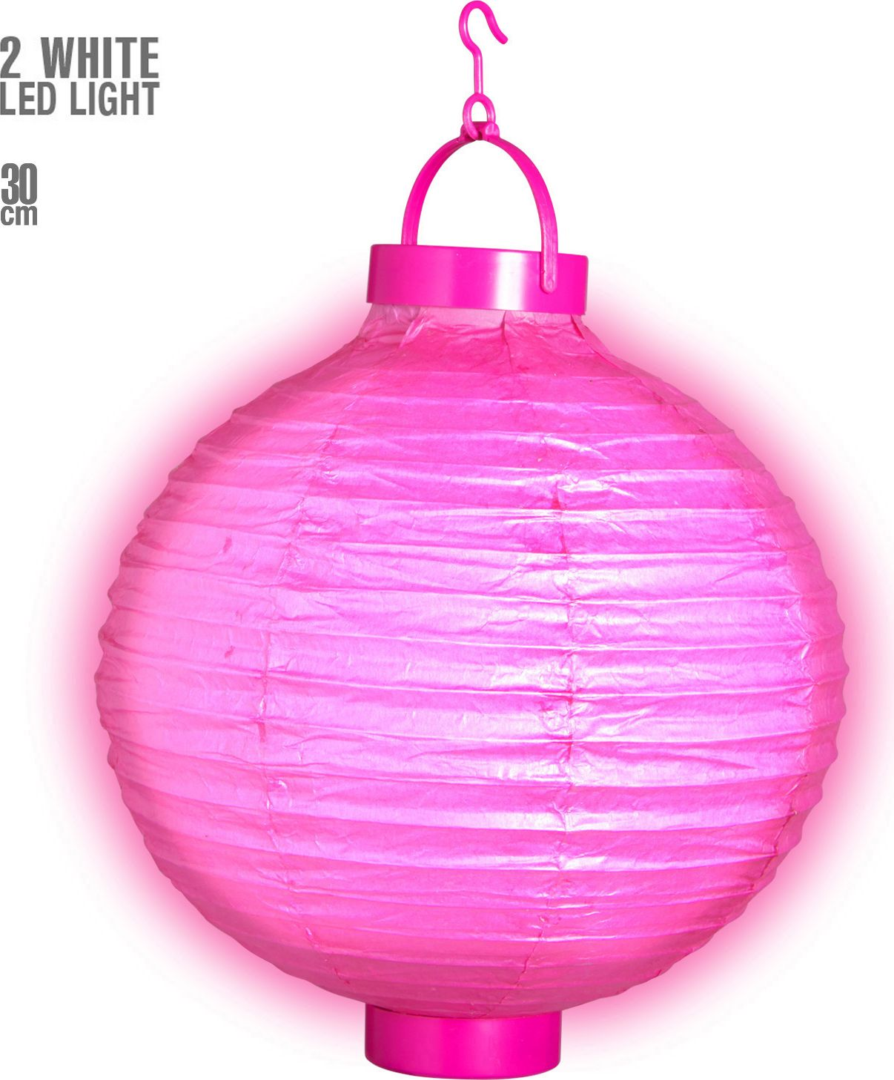 Roze lampion met 2 witte LED lichten