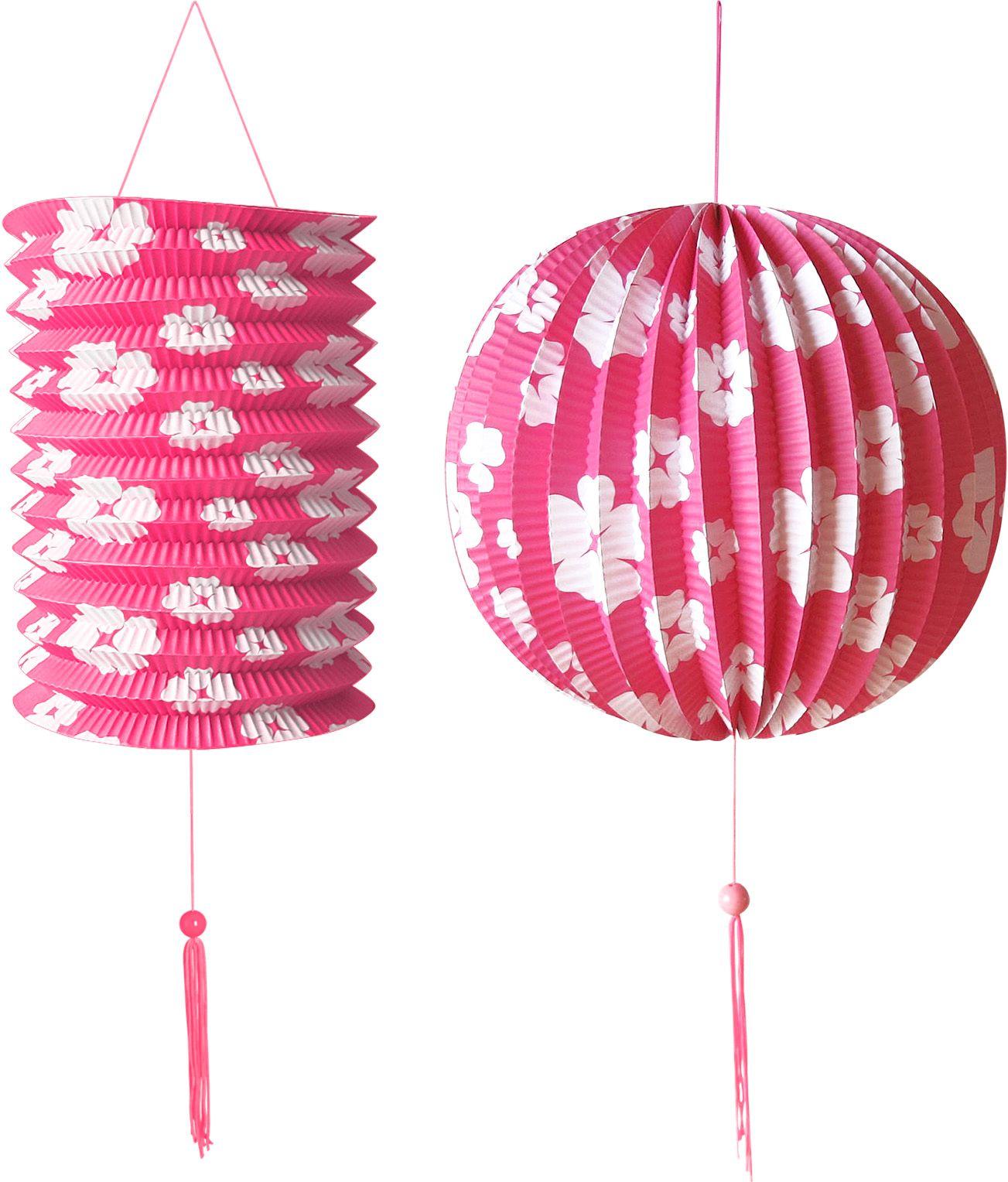 Roze papieren bal en lampion