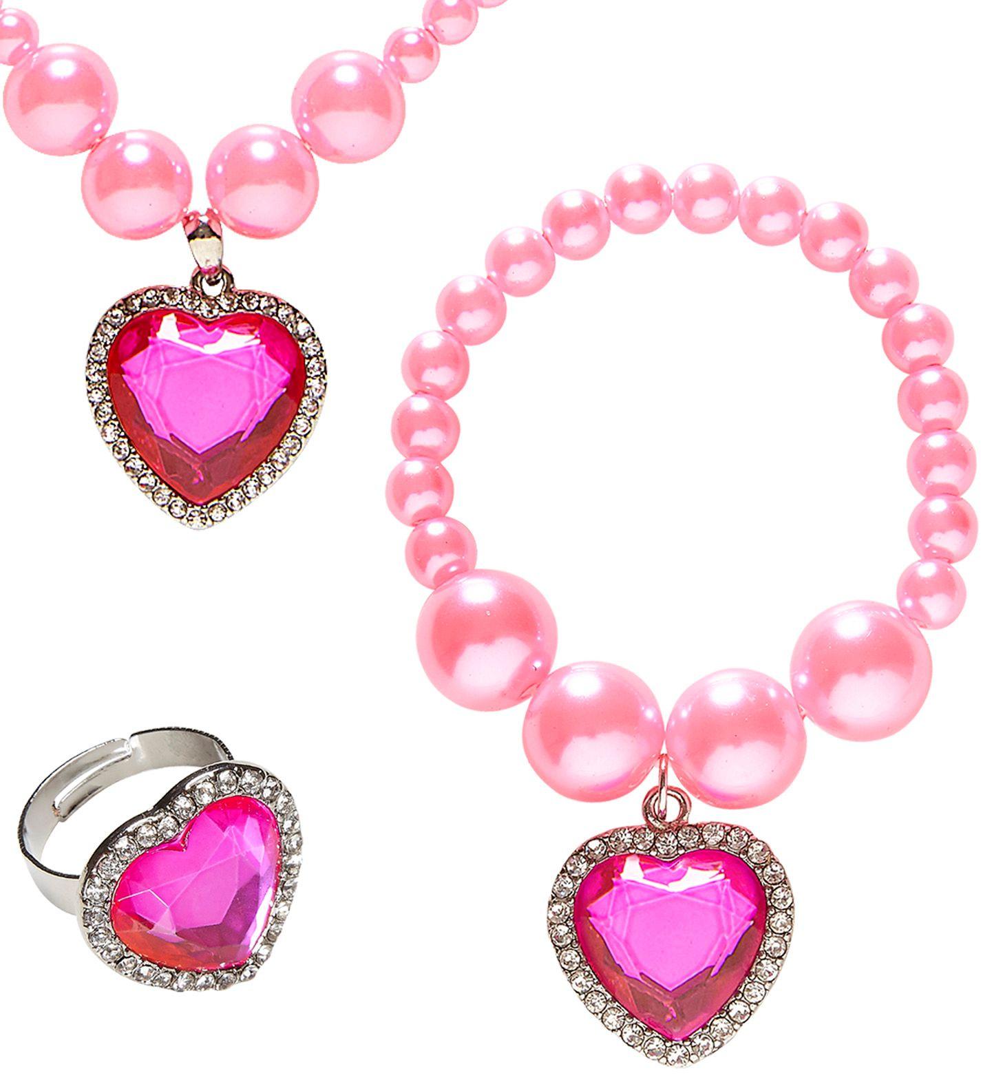 Roze parel sieraden met hartjes