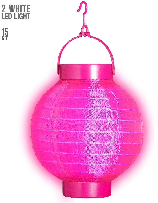 Roze stoffen lampion met 2 witte lichten