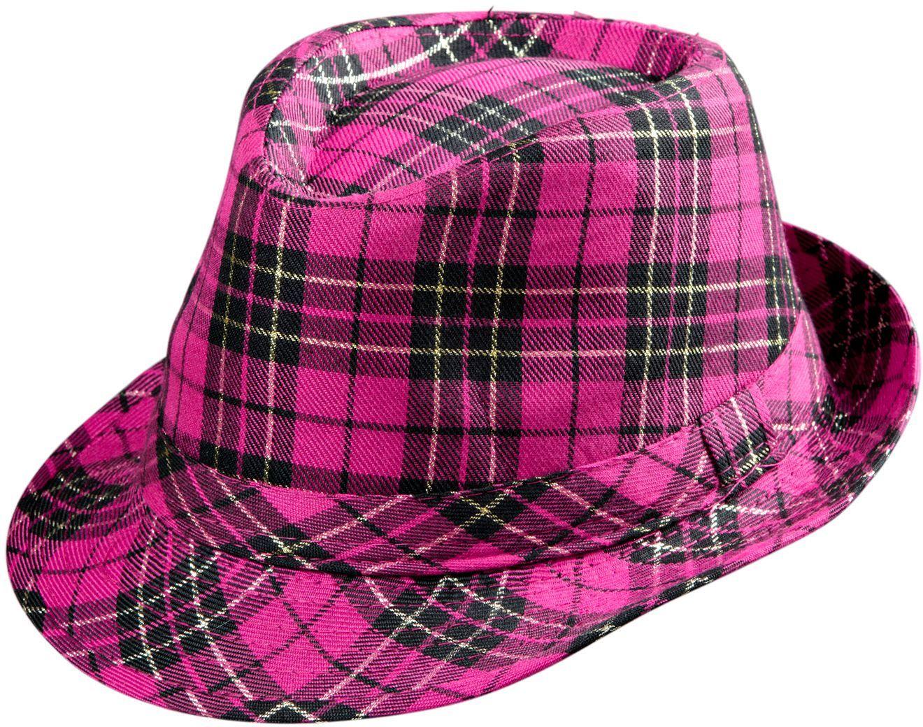 Roze tartan hoed