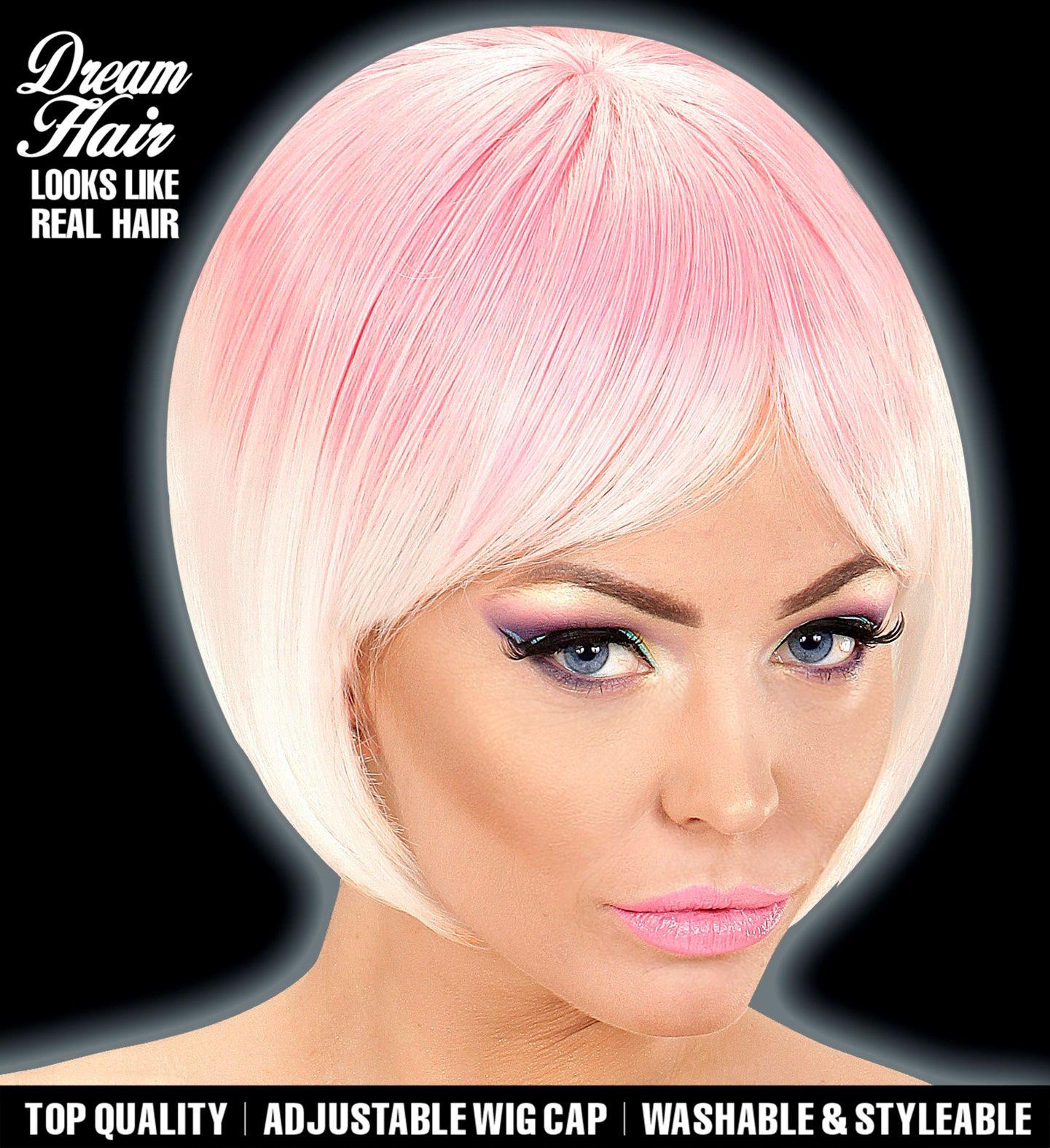 Roze witte korte dames pruik