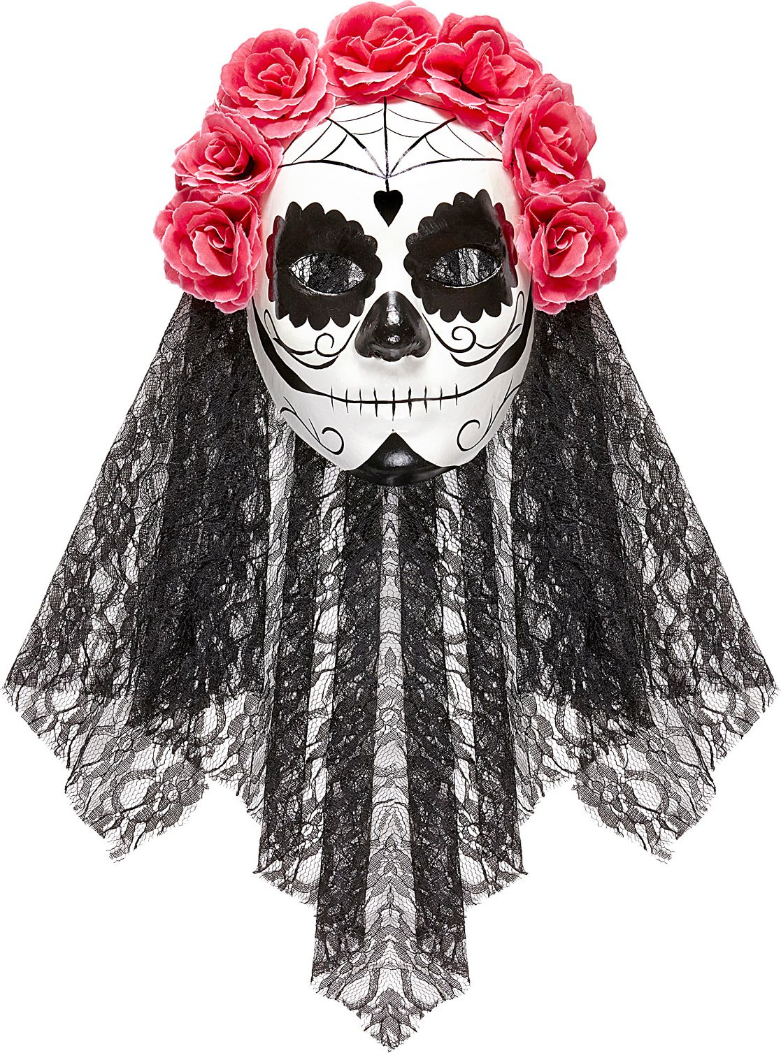 Roze zwart day of the dead masker met sluier