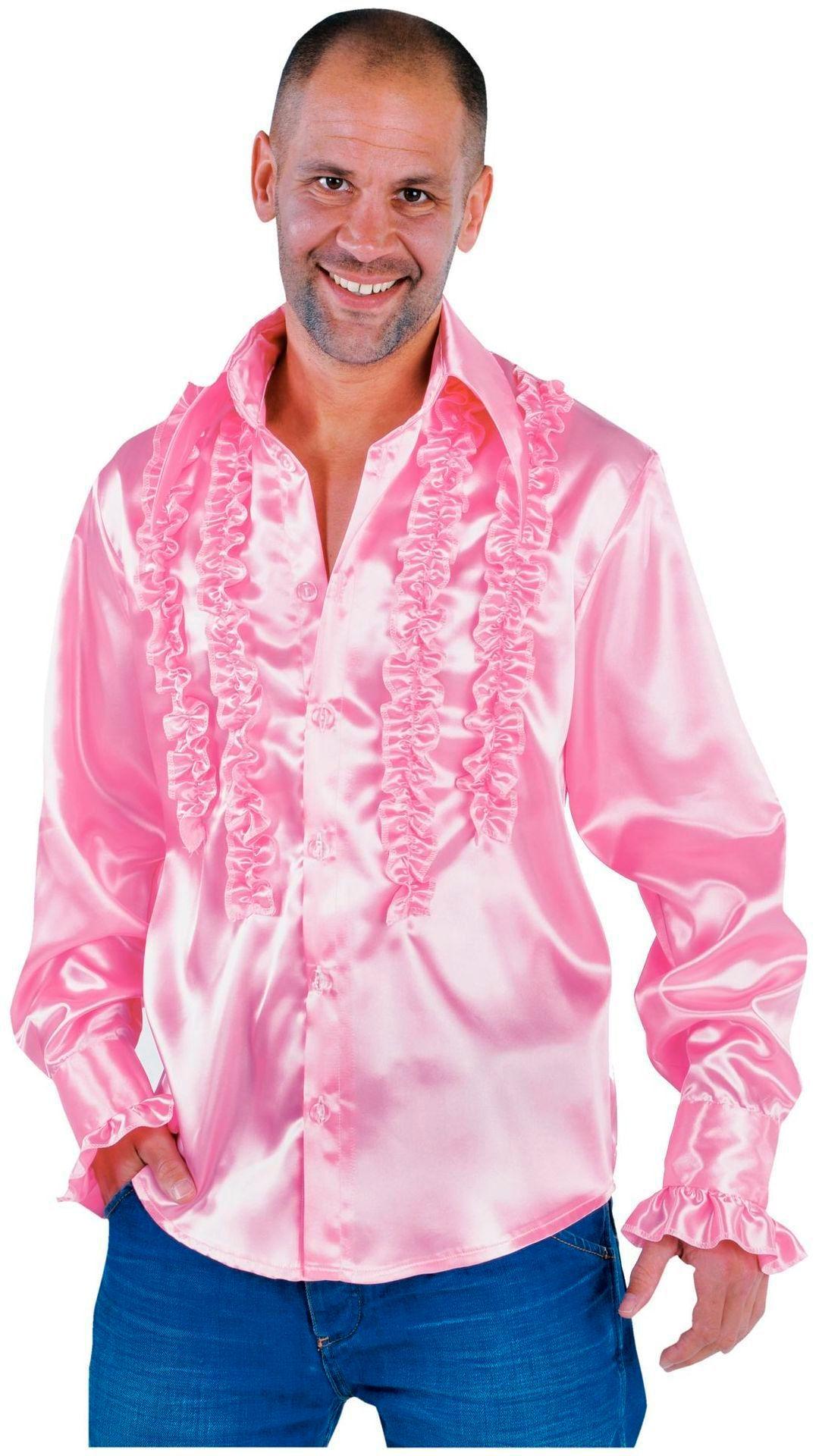 Ruches blouse licht roze heren