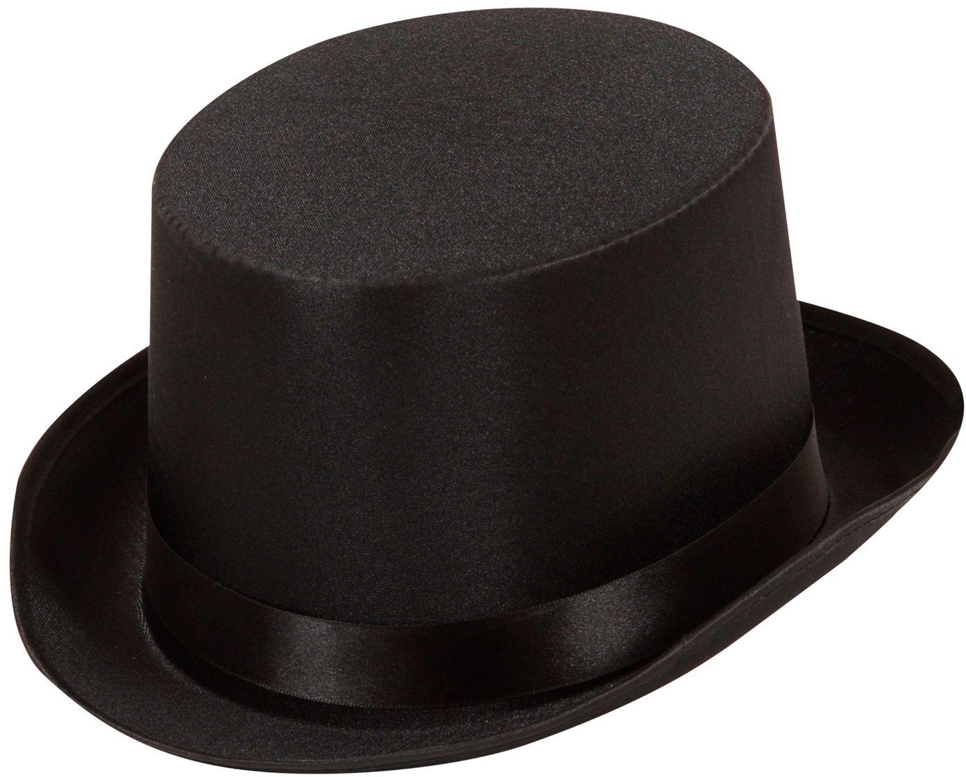 Satijnen hoge hoed zwart