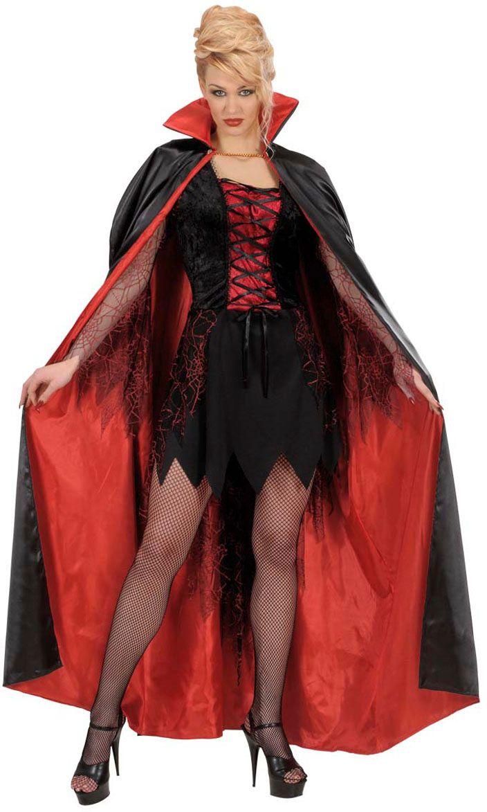 Satijnen vampier cape zwart rood