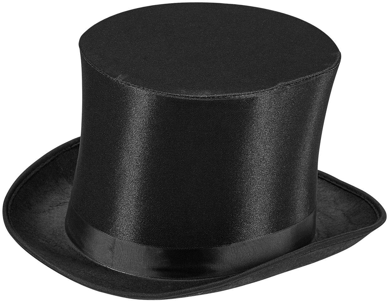 Satijnen zwarte hoge hoed